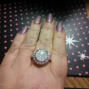 Jewelry - Sz 9 created opal and white sapphire halo ring